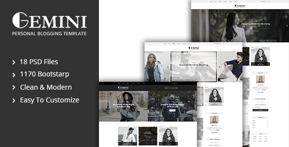 Gemini Personal Blogging PSD Template - Personal PSD Templates
