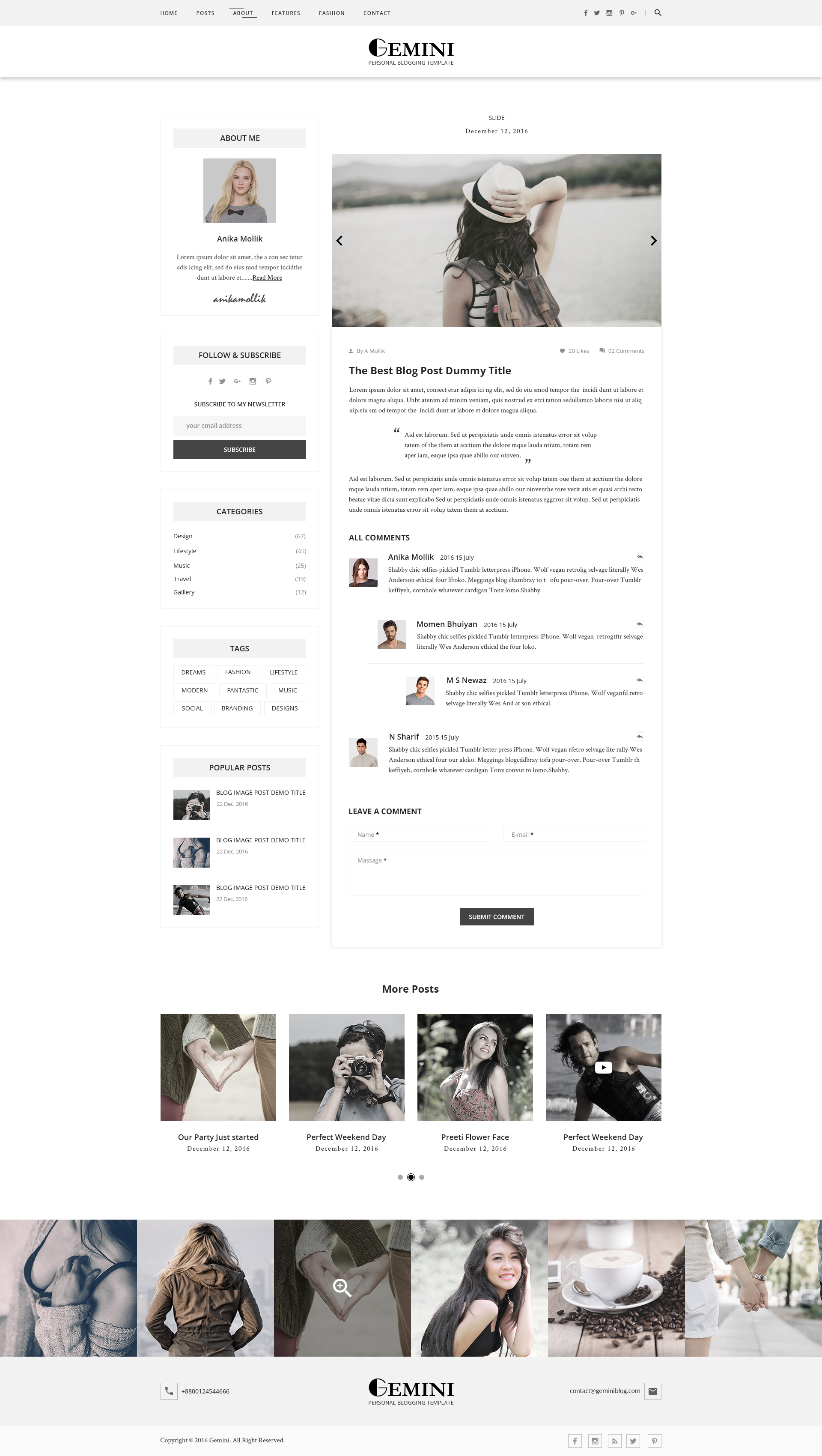 Gemini Personal Blogging PSD Template by Themes-Hub | ThemeForest