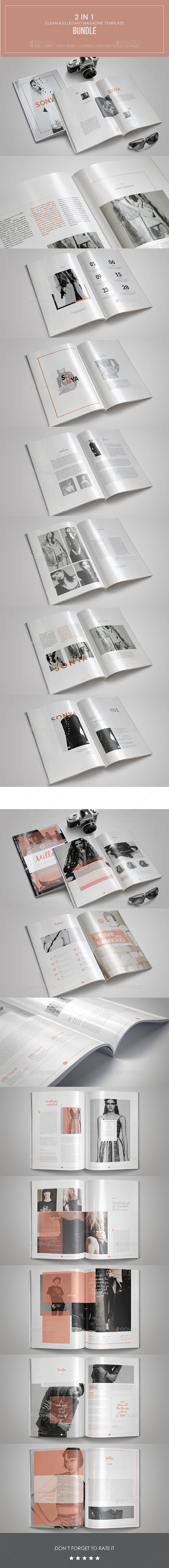 2 in 1 Clean & Ellegant Magazine Template - Magazines Print Templates