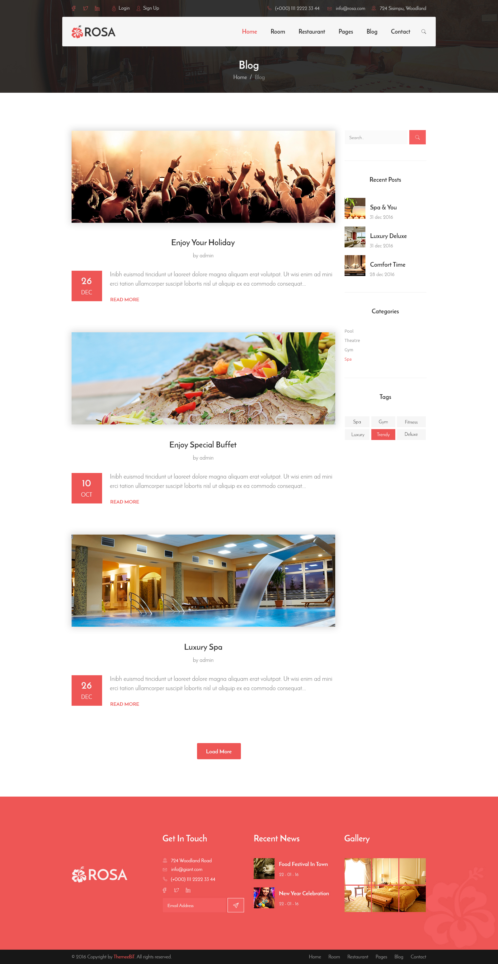 ROSA - Hotel Reservation & Restaurant PSD Template by TeameBiT ...