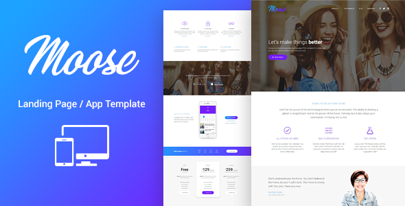 Moose Modern Landing Page HTML Template By Lumberjacks ThemeForest - Landing page html template