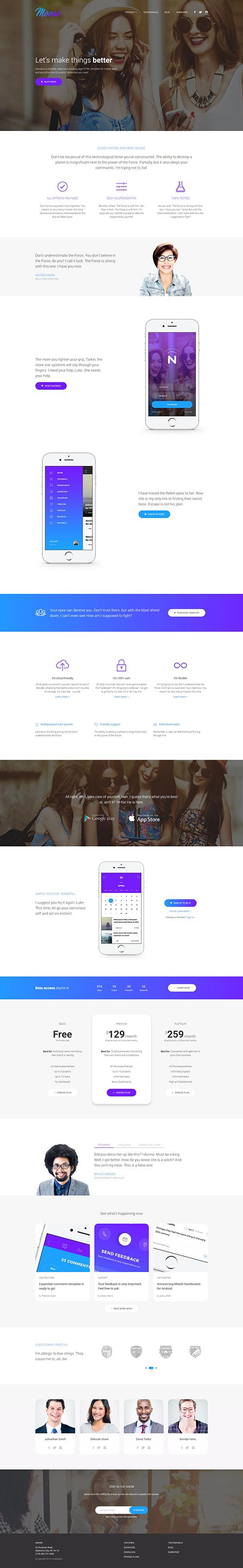 Moose - Modern Landing Page HTML Template by Lumberjacks | ThemeForest