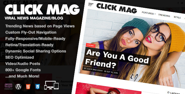 Click Mag - Viral WordPress News Magazine/Blog Theme - News / Editorial Blog / Magazine