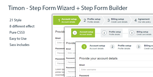 Timon - Step Form Wizard + jQuery Step Form Builder - CodeCanyon Item for Sale