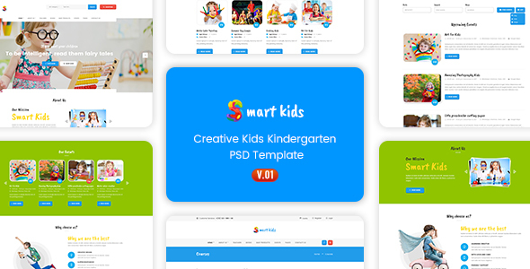 Smart Kids – Multipopurse Creative Kids Kindergarten PSD Template