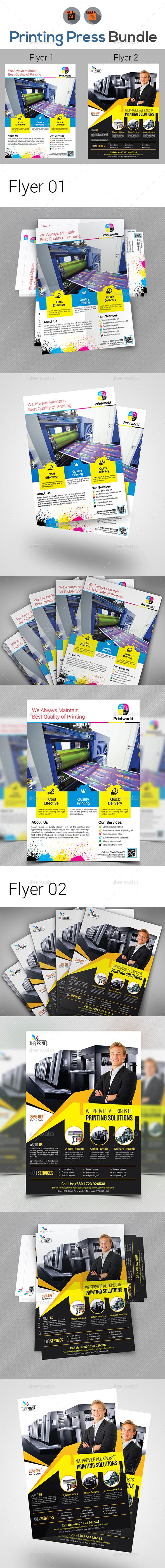 Printing Press / Print Shop Flyer Bundle - Print Templates
