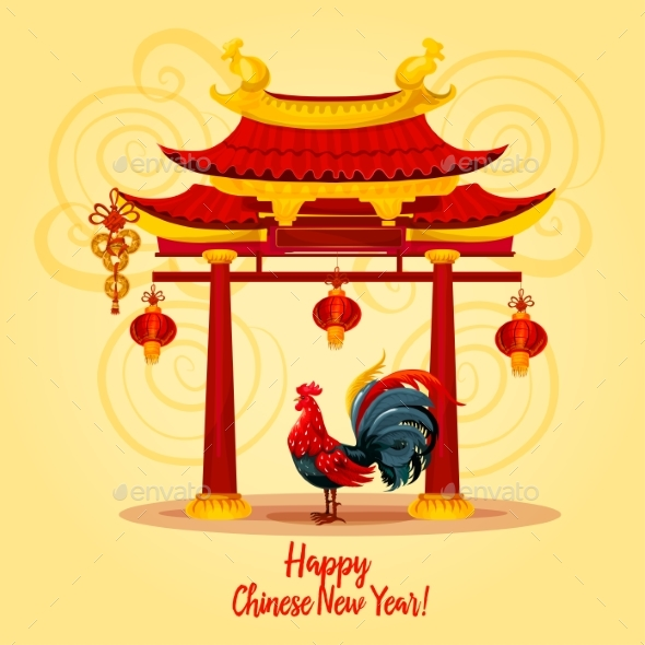 chinese new year rooster greeting card design by vectortradition