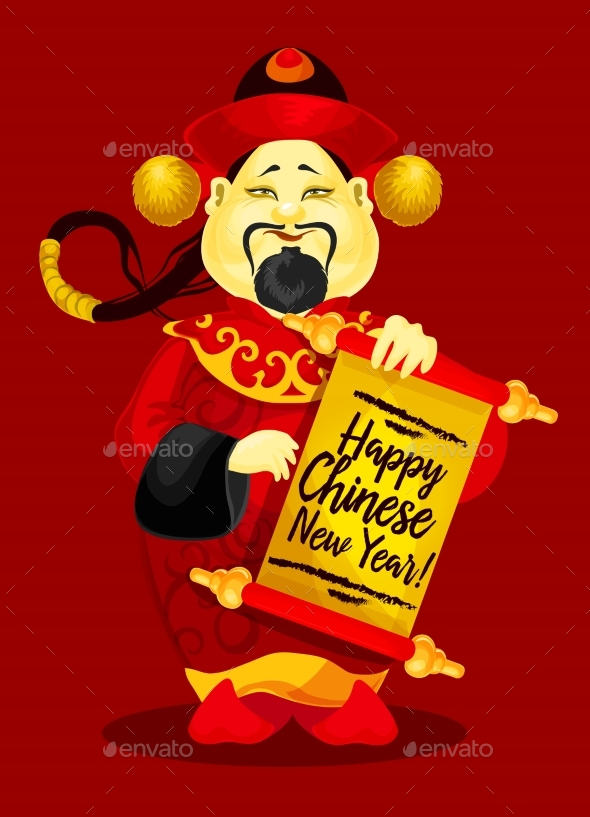 Chinese New Year Greeting Card with God of Wealth - Miscellaneous Seasons/Holidays