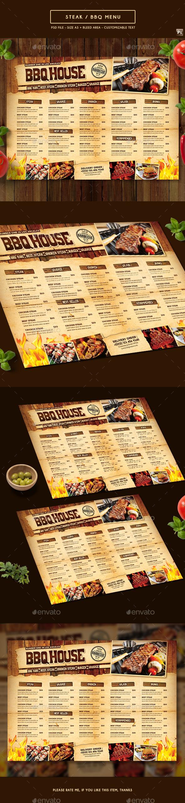 BBQ / Steak Menu - Food Menus Print Templates