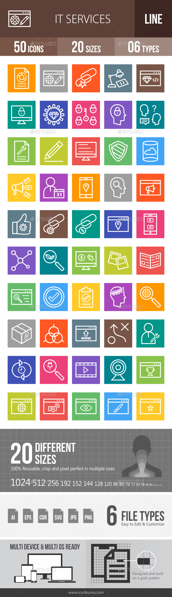 IT Services Line Multicolor Icons - Icons