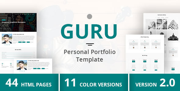 GURU - Personal Portfolio Template - Personal Site Templates