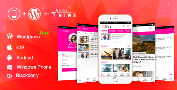 Full Android, iOS Mobile Application for Wordpress Website - Star News - CodeCanyon Item for Sale