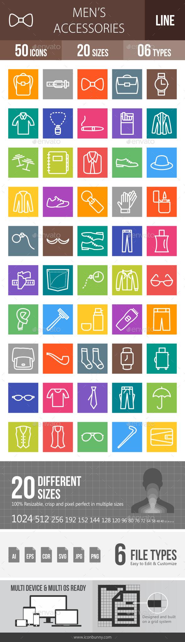 Men's Accessories Line Multicolor Icons - Icons