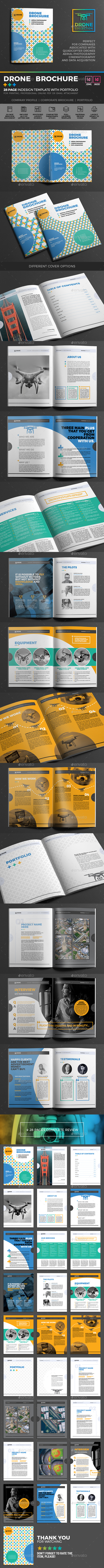 Drone Brochure - 28 Page InDesign Template - Brochures Print Templates