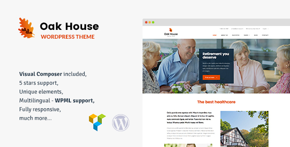 Oak House – Senior Care, Retirement, Rehabilitation WordPress Theme