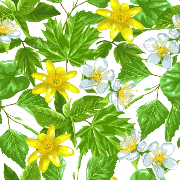 Spring Green Leaves and Flowers. Seamless Pattern - Flowers & Plants Nature