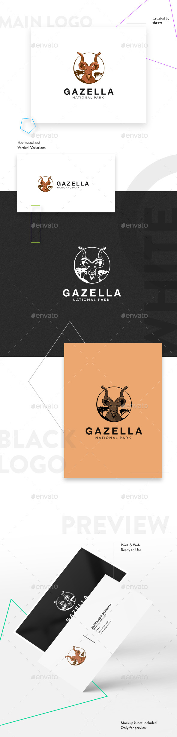 Gazella Logo - Animals Logo Templates