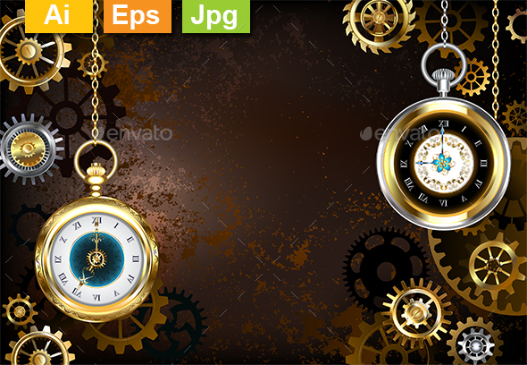 Brown Background with the Clock - Backgrounds Decorative