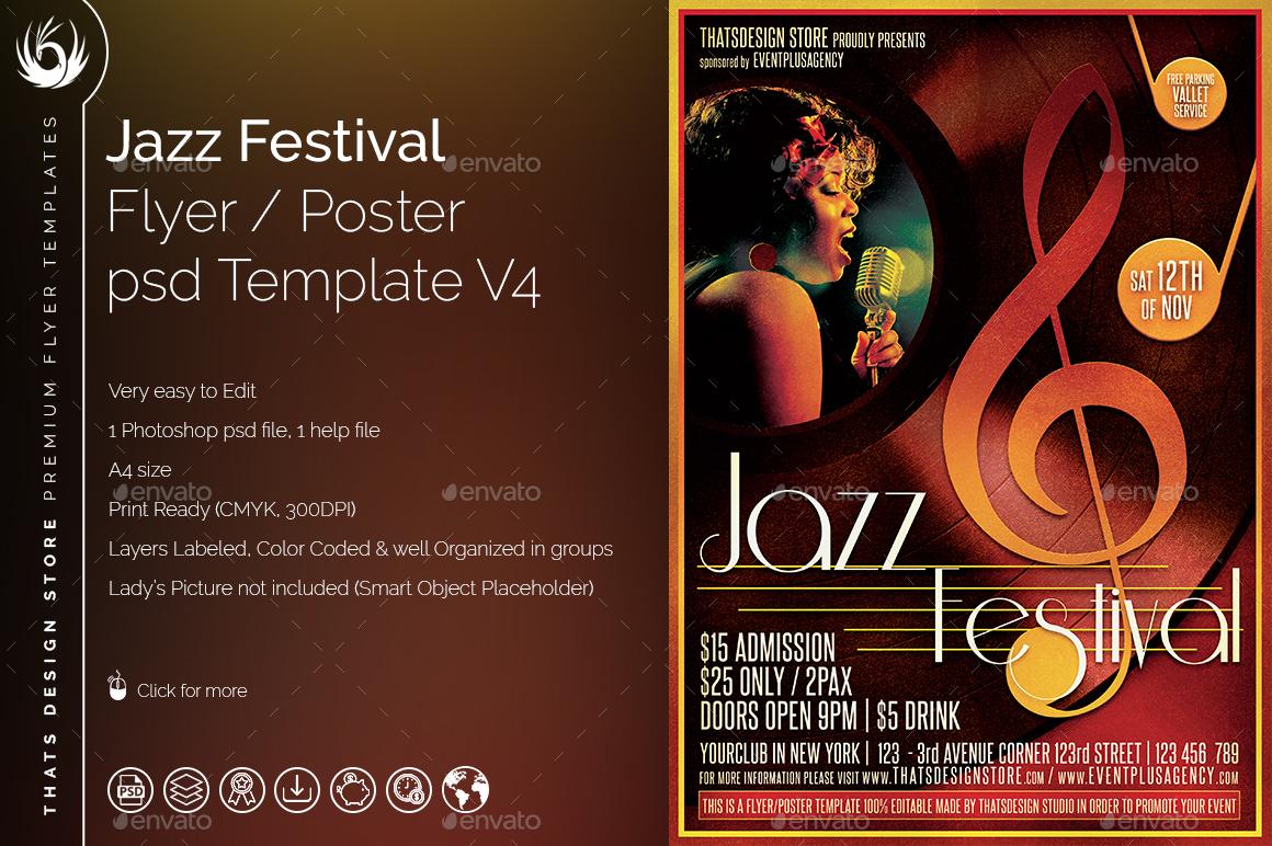 Jazz Festival Flyer Template V4 by lou606 | GraphicRiver