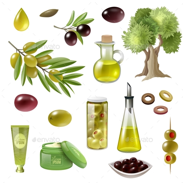 Olive Cartoon Set - Organic Objects Objects