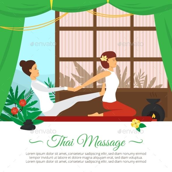 Massage And Healthcare Illustration - Health/Medicine Conceptual