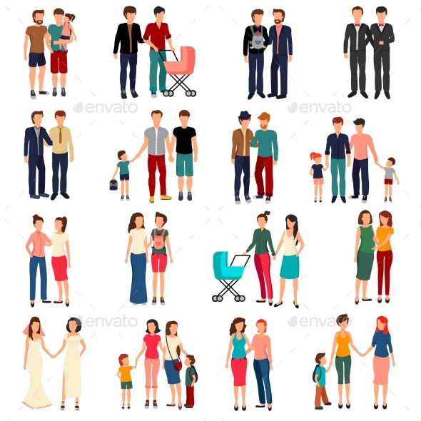 Homosexual Couples Set - People Characters