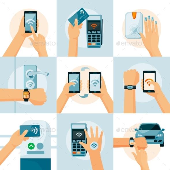 NFC Technology Flat Style Concept - Technology Conceptual