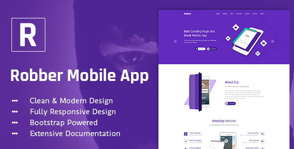 Robber Mobile App Landing Page PSD Template
