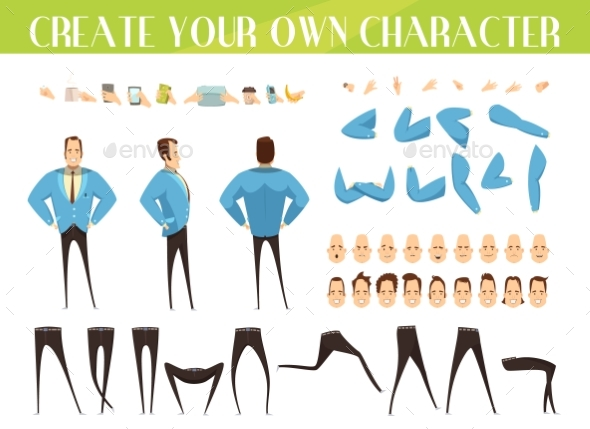 Set For Creation Of Businessman - People Characters