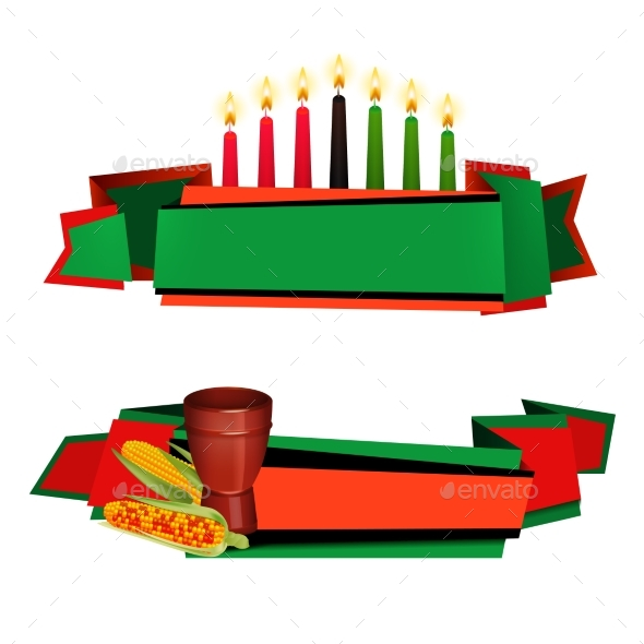 Kwanzaa Ribbon 2 Colorful  Banners Set - Conceptual Vectors