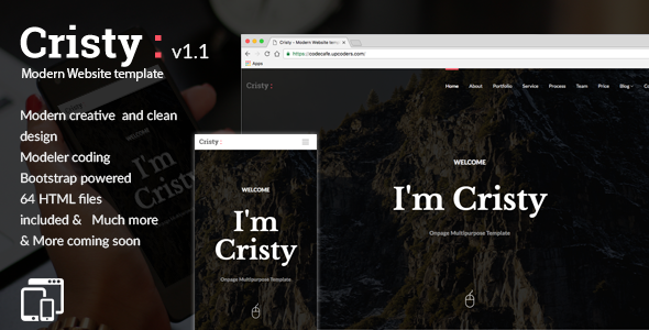 Cristy - Modern Website Template - Creative Site Templates