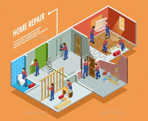 Home Repair Isometric Template - Abstract Conceptual