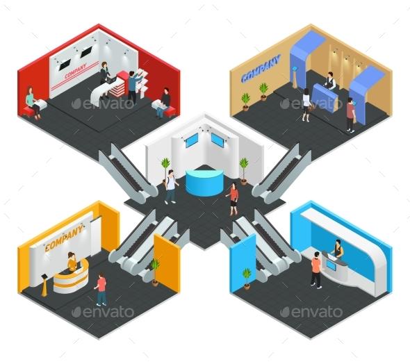 Multistore Exhibition Isometric Composition - Business Conceptual
