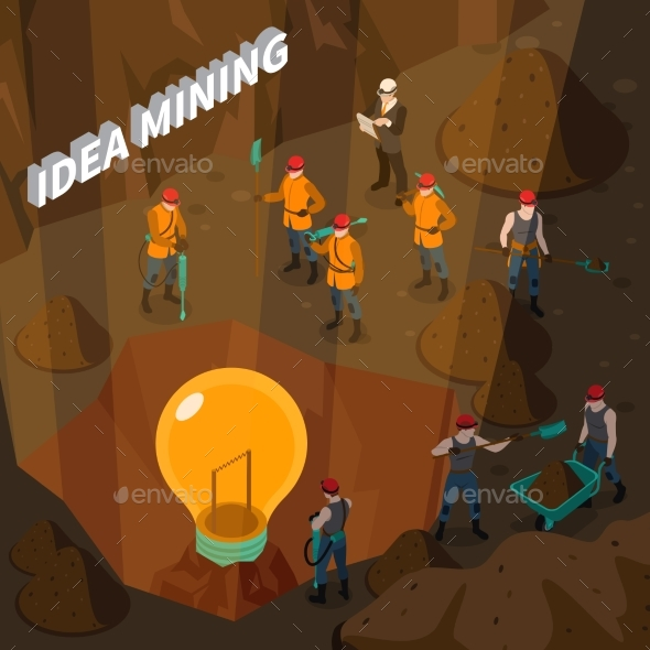 Idea Mining Isometric Concept - Industries Business