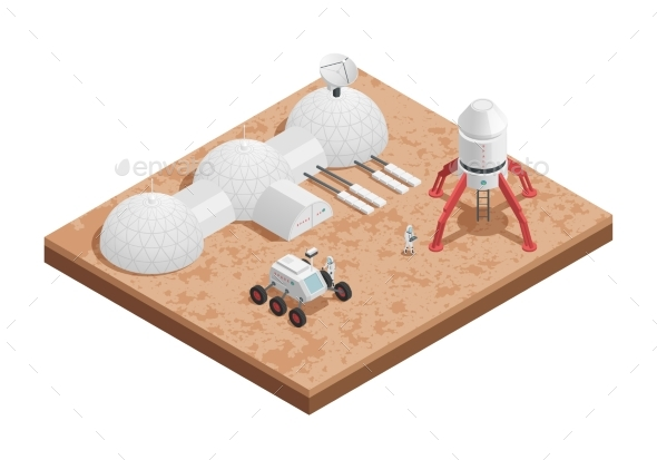 Rocket Space Isometric Composition