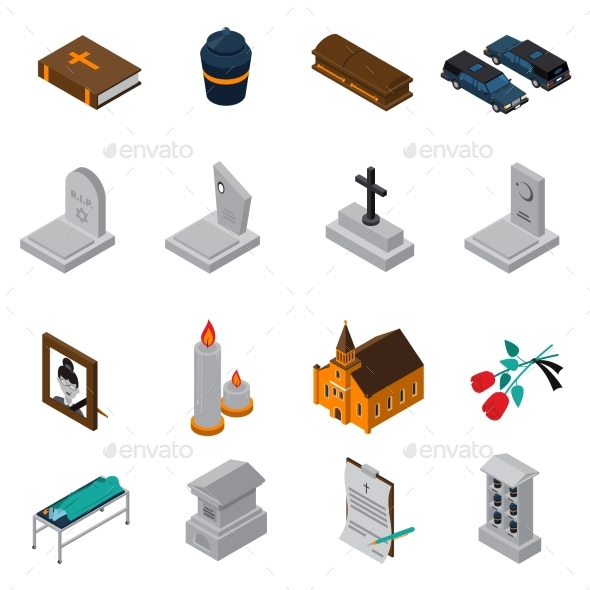 Funeral Isometric Icons Set - Abstract Conceptual