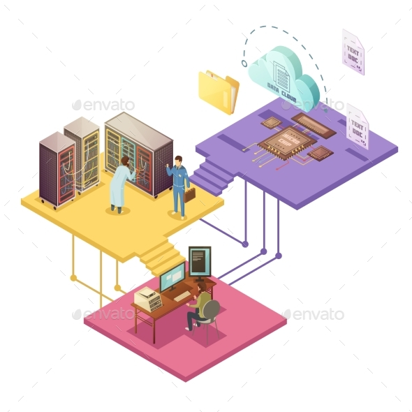 Datacenter Isometric Illustration - Business Conceptual