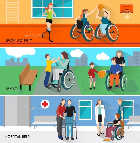 Disabled People Horizontal Banners Set - People Characters