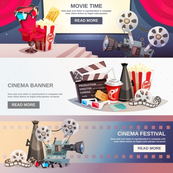 Cinematography Flat Horizontal Banners - Technology Conceptual