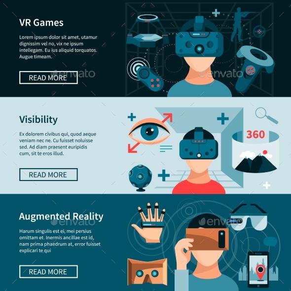 Virtual Reality Horizontal Webpage Banners Set - Technology Conceptual