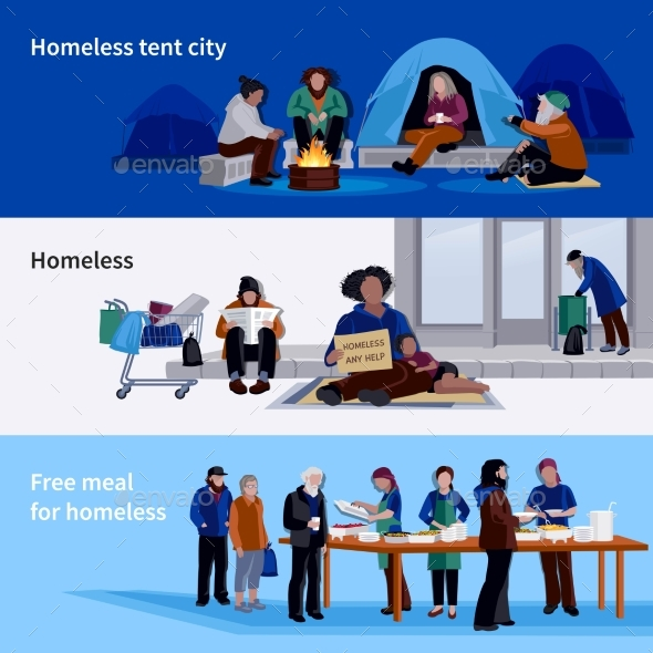 Homeless People Horizontal Banners - People Characters