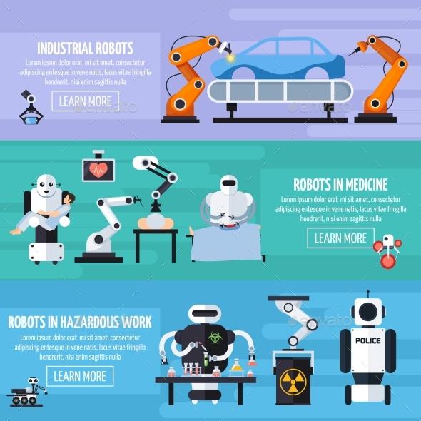 Robots Banners Set - Technology Conceptual