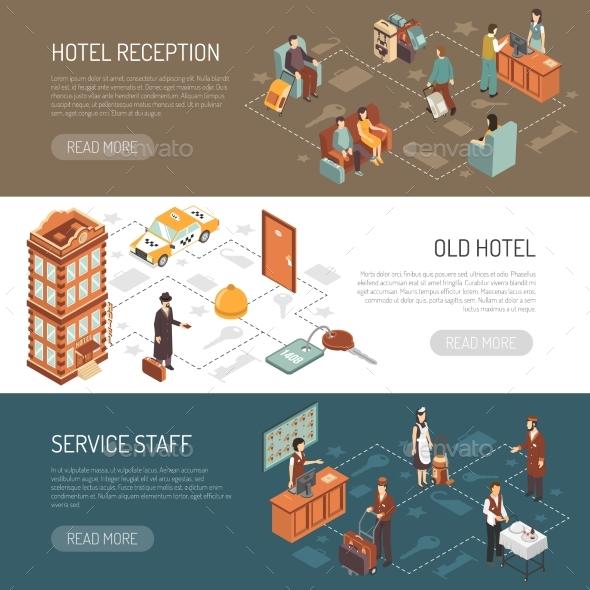 Hotel Isometric Horizontal Banners - Travel Conceptual