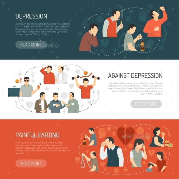 Depression Horizontal Banners - People Characters