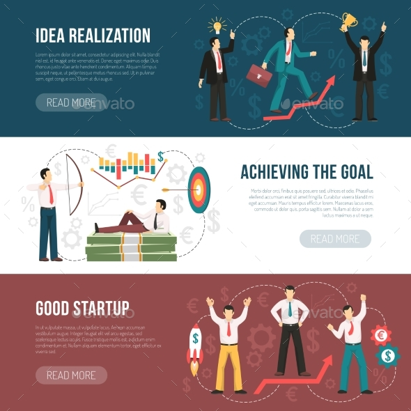 Successful Startup Flat Horizontal Banners Set - Business Conceptual