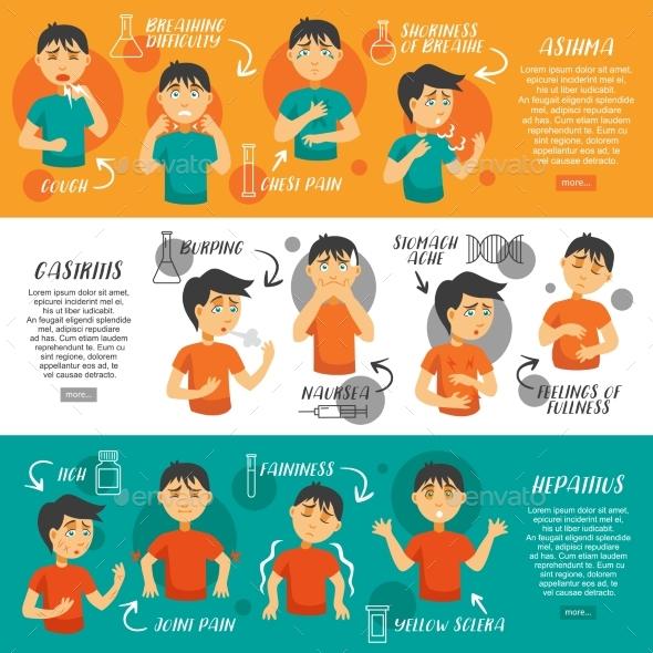 Illnesses Horizontal Banners Set - Health/Medicine Conceptual