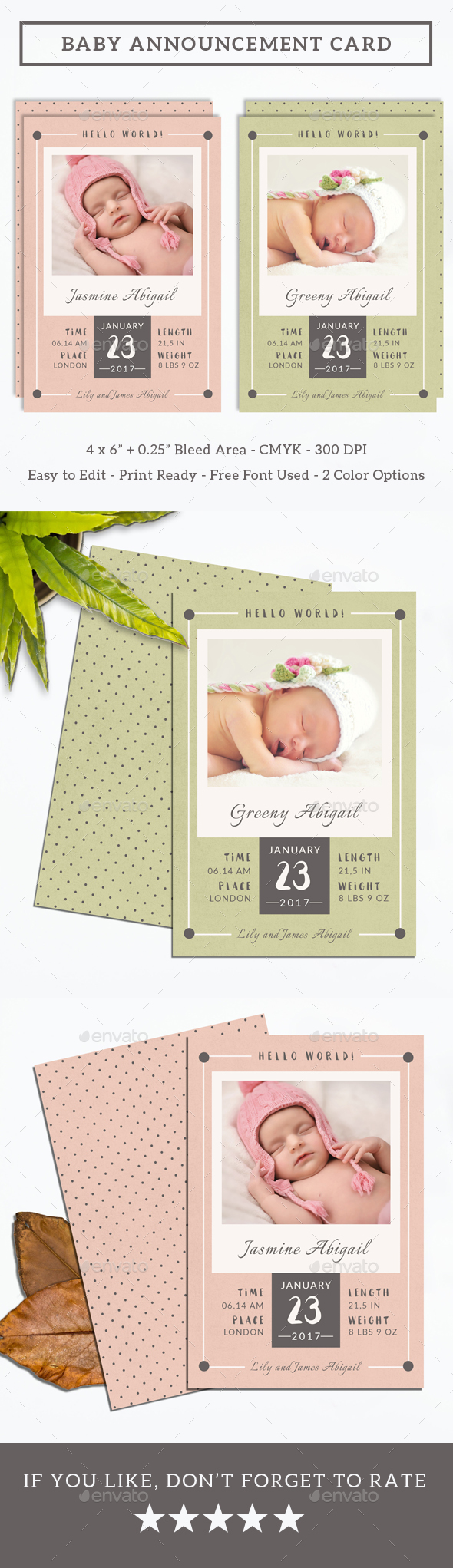 Baby Announcement Card - Cards & Invites Print Templates