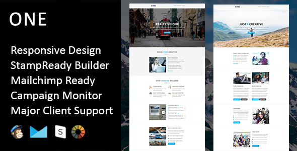 One - Multipurpose Responsive Email Template + Stampready Builder