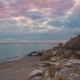 Epic Flying Drone To Over the Winter Beach During a Beautiful Pink Sunset - VideoHive Item for Sale