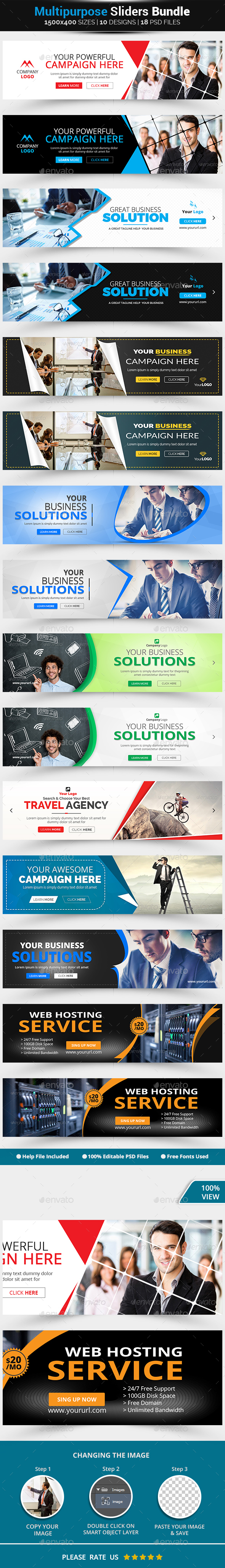 Business Sliders Bundle-8 Design - Sliders & Features Web Elements